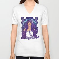 nouveau V-neck T-shirts featuring Iris Nouveau by Karen Hallion Illustrations