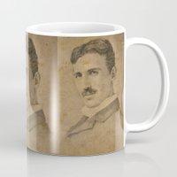 tesla Mugs featuring Nikola Tesla by Jenn