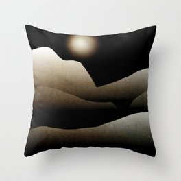 Moonlight Mountain Landscape Throw Pillow