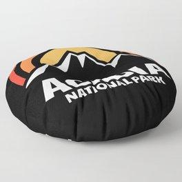 Retro Acadia National Park Sunset Floor Pillow
