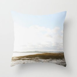 Low Tide at the Lighthouse Throw Pillow