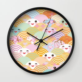 seamless pattern Kawaii with pink cheeks and winking eyes with japanese sakura flower Wall Clock