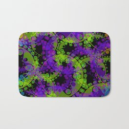 Multicolored delicate pastel green circles and blue ellipses depicting abstract ornamental purple fl Bath Mat