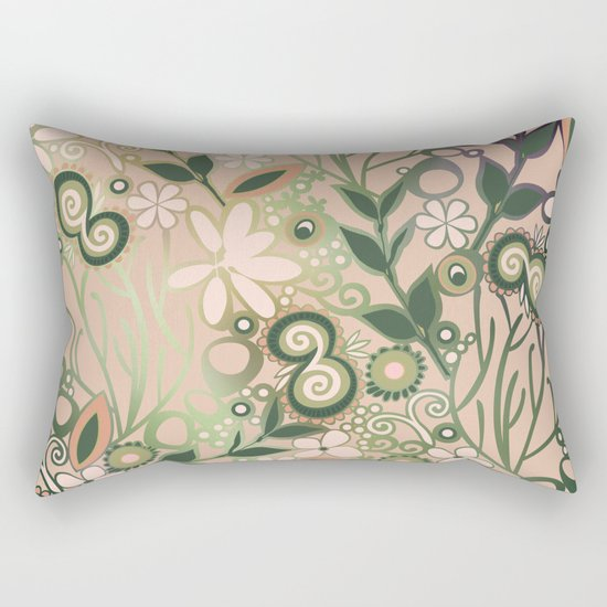 Detailed square of peach and green floral tangle Rectangular Pillow