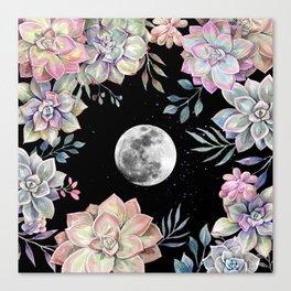 succulent full moon 4 Canvas Print