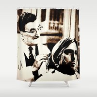 kurt vonnegut Shower Curtains featuring Kurt & Floyd  |  Grunge Collage by Silvio Ledbetter