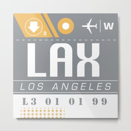 LAX International Travel Ticket Metal Print