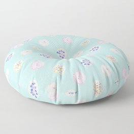 Cute Donuts Dessert Food Patern in Pastel Pink, Green, Blue Floor Pillow