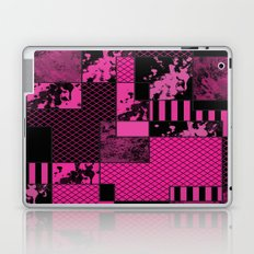 Pink And Black - Abstract, geometric, textured artwork Laptop & iPad Skin