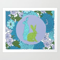 The hare amid the flowers Art Print