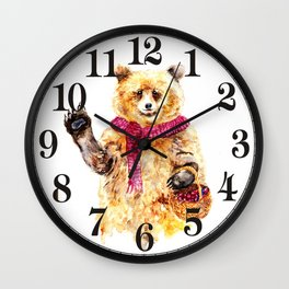 Bear says Hello Wall Clock