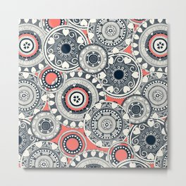 heart mandala coral Metal Print