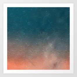 Modern  Textured  Atlantic Blue Abstract Art Print