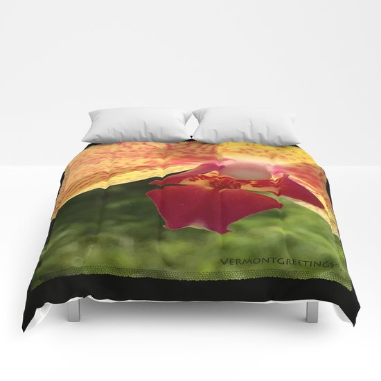 Yellow Orchid Flower Blossom from Mexico Comforters