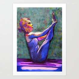 Stained Glass Boat Pose Art Print