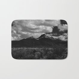 Dramatic Clouds over Mountain Range in Big Bend Bath Mat