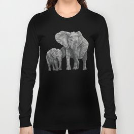 African Elephant and Calf Long Sleeve T-shirt
