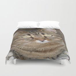 Cute Tabby Cat Portrait  Duvet Cover