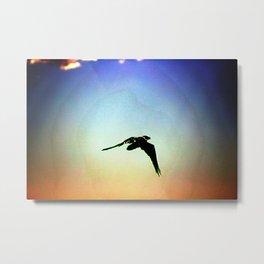 Raven Flying on Southwest Sunset Metal Print