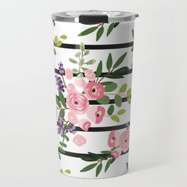 Pink roses bouquets with greenery on the striped background Travel Mug