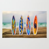 surfboard Area & Throw Rugs featuring Surfboard by Leonardo Vega