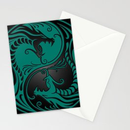 Teal Blue and Black Yin Yang Dragons Stationery Cards