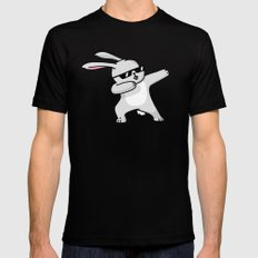 Dabbing Easter Bunny Black LARGE Mens Fitted Tee