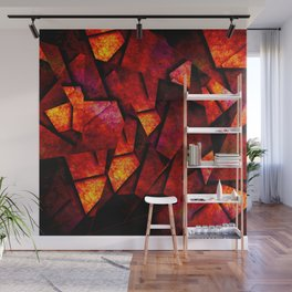Fragments Of Fire - Abstract, geometric, fragmented pattern Wall Mural