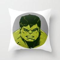 hulk Throw Pillows featuring Hulk by Hazel