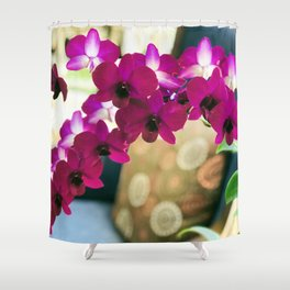 Pink Purple Magenta Orchids In Contemporary Vase Shower Curtain