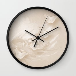 Fabulous butterflies and wattle with textured chevron pattern in subtle iced coffee Wall Clock