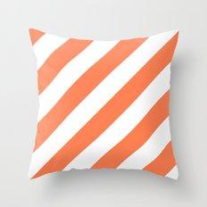 Coral diagonal striped pattern Throw Pillow