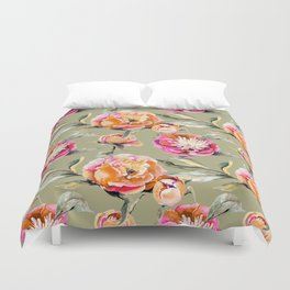 Summery Orange And Pink Peonies Duvet Cover