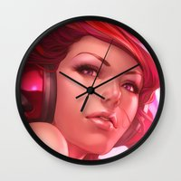 artgerm Wall Clocks featuring Pepper Freedom by Artgerm™
