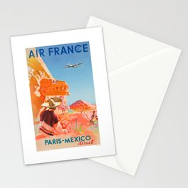 1952 AIR FRANCE Paris Mexico Direct Travel Poster Stationery Cards