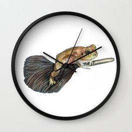 Toad Rode on a Broom Wall Clock