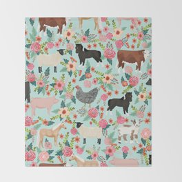 Farm animal sanctuary pig chicken cows horses sheep floral pattern gifts Throw Blanket