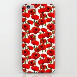 Red Poppy Pattern iPhone Skin