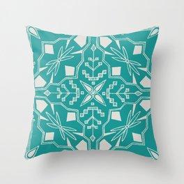 Turquoise Batik Throw Pillow