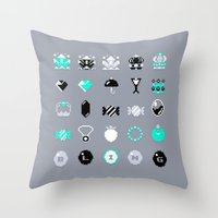 8 bit Throw Pillows featuring 8-Bit Bling by Spires