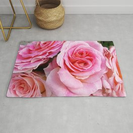 Gorgeous Fantastic Bouquet Of Pink Rose Blossoms Close Up Ultra HD Rug