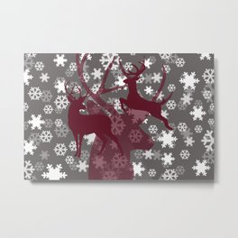 Reindeer silhouette red snowflakes grey Metal Print