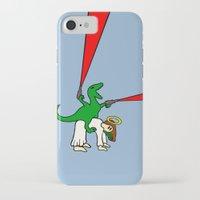atheist iPhone & iPod Cases featuring Dinosaur Riding Jesus by Jez Kemp