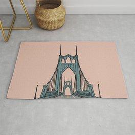 St. Johns Bridge Illustration Pink PDX Rug