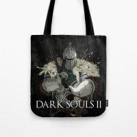 dark souls Tote Bags featuring Dark Souls 2 Knight Splatter by 666HUGHES
