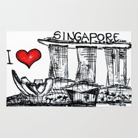 singapore Area & Throw Rugs featuring I love Singapore by sladja