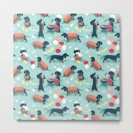 Hot dogs and lemonade // aqua background navy dachshunds Metal Print