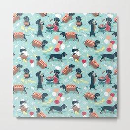 Hot dogs and lemonade // aqua background navy dachshunds Metal Print