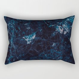Natural Marble Deep Blue Pattern Rectangular Pillow
