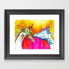 Giraffe Kiss Framed Art Print